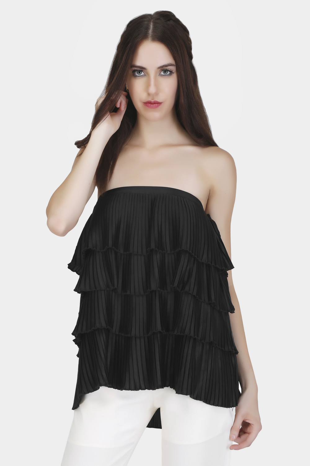 Off-Shoulder Pleated Top - Front