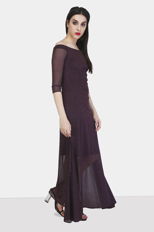 Off-Shoulder Godet Dress