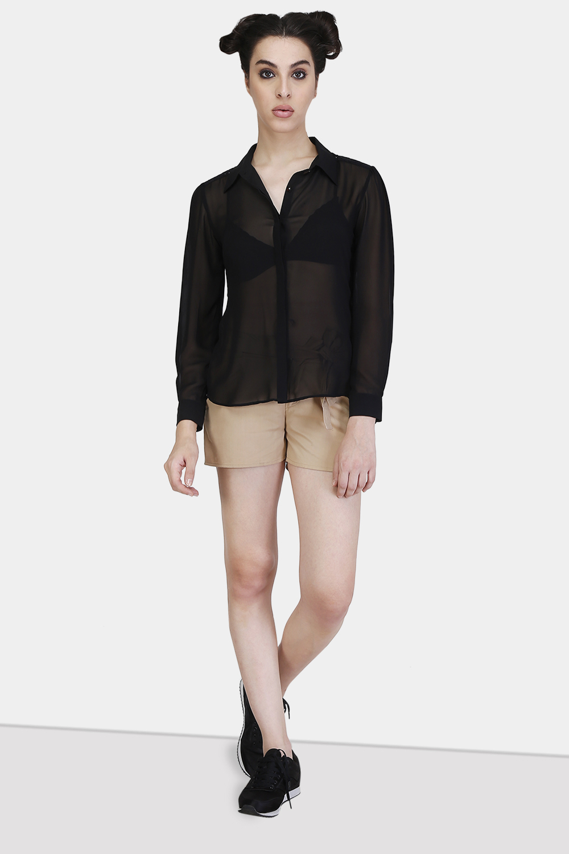 Floral Lace Yoke Shirt - Front