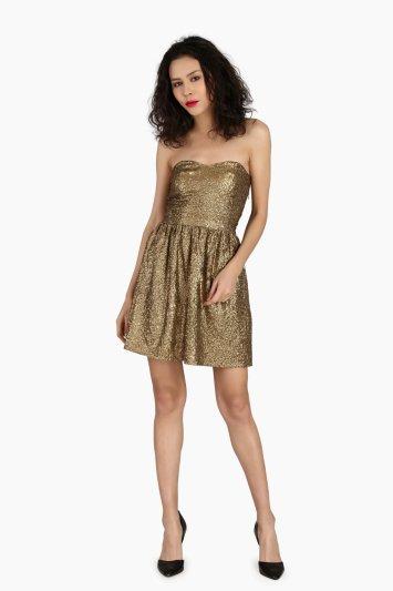 Strapless Golden Sequin Dress - Front