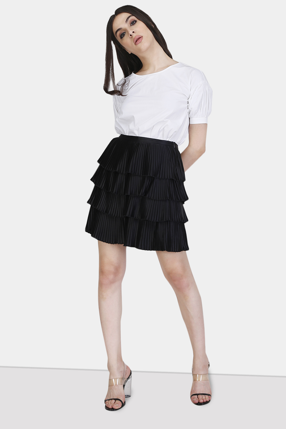 Multi Layered Pleated skirt - Front