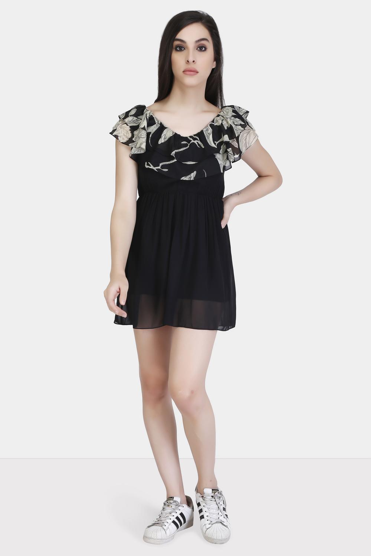 Printed Yoke Ruffle Dress